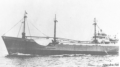 Pinta - Type: Freighter, NetherlandsName: The Pinta was one of three sister ships named for Columbus' original three vessels, the Nina, the Pinta, and the Santa Maria.Built: 1959, DenmarkSpecs: (194 x 31 ft) 1000 gross tons, 12 crewSunk: Wednesday May 8, 1963 collision with freighter City of Perth ( 7547 tons) - no casualtiesDepth: 85 ft, starts at 55 ft