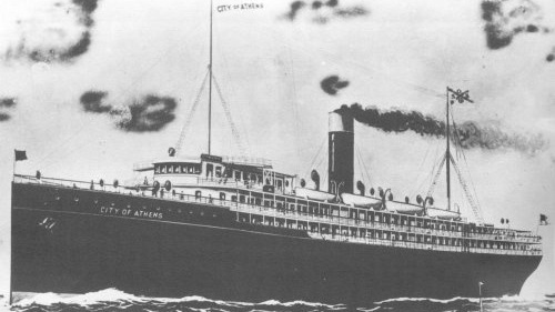 City of Athens - Type: Liner, USABuilt: 1911, Camden NJ USA, as SomersetSpecs: ( 309 x 46 ft ) 3648 gross tons, 135 passengers & crewSunk: Wednesday May 1, 1918 collision with French Navy cruiser La Gloire - 67 casualtiesDepth: 110 ft