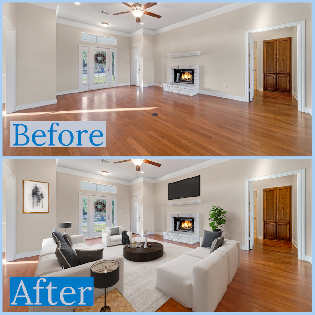 Virtual Staging Photos - Duration of 30 minutes • Description for Pricing1 Photo $60 • 2 Photos $110 • 3 Photos $150Additional travel charge may apply.