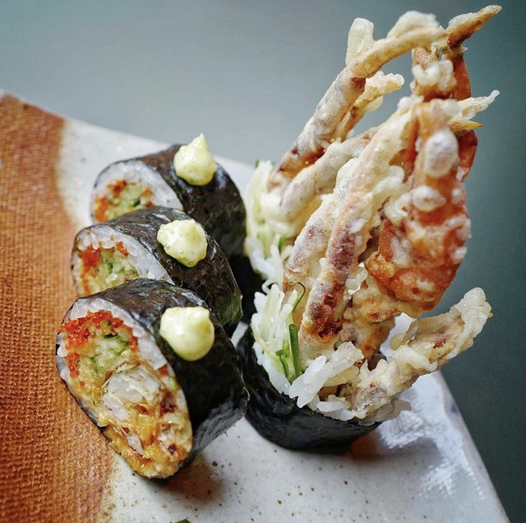 Soft-shell crab – with chilli mayonnaise, cucumber and wasabi tobiko sauce - Zuma.jpg