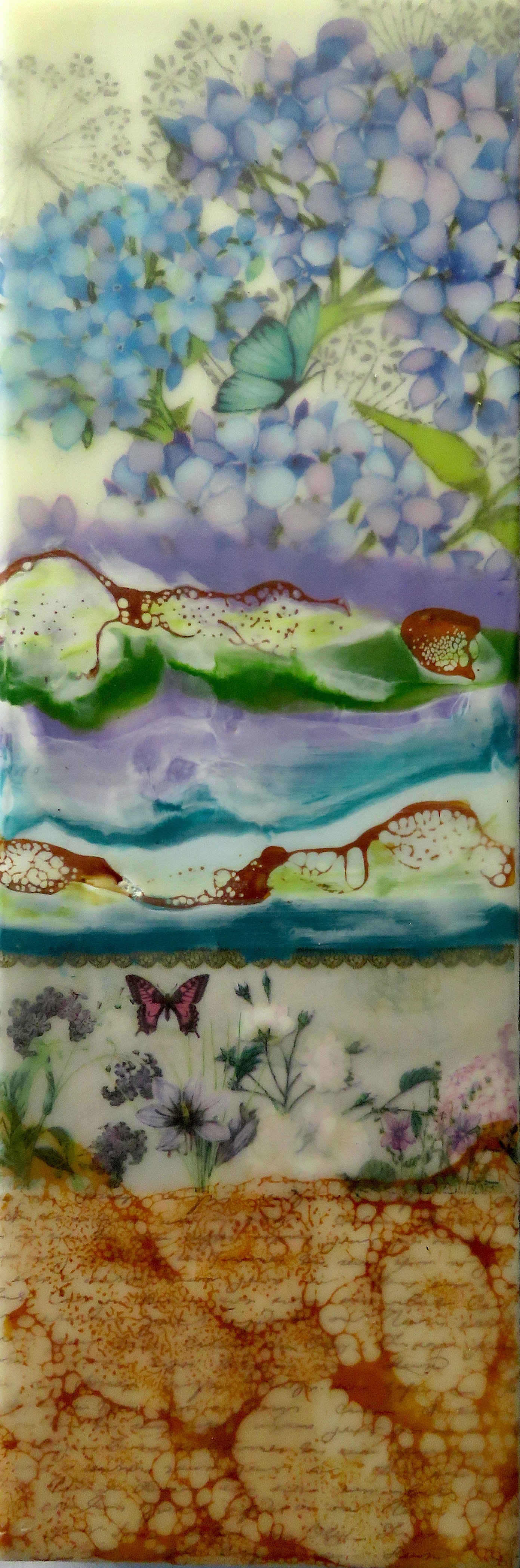 Encaustic Life In The Garden #153 | $295.00 |  300mm x 100mm