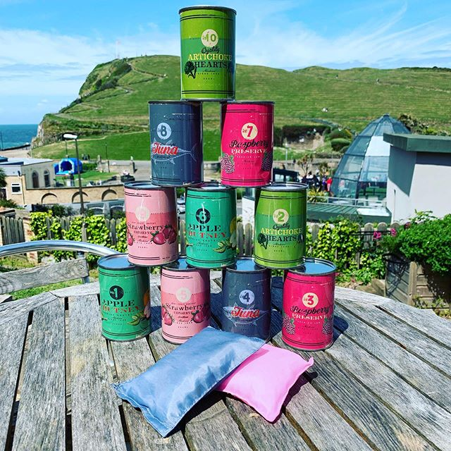 Love a game of tin can alley in the garden of the Habit...especially with that view! #ilfracombe #summer #localbusiness #garden #view