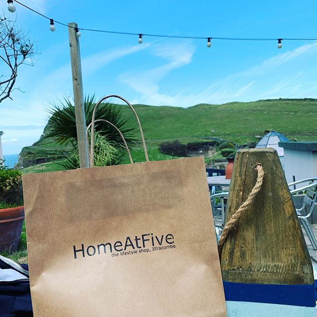 Thanks for the chat and the sympathy @home_at_five! Great shop and see you soon. Love our new doorstop! #ilfracombe #local #devon #bankholiday #sunshine