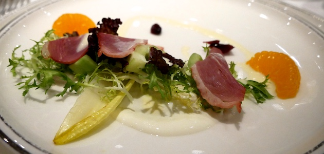 Smoked duck breast at Gala Dinner