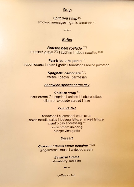 Sample lunch menu in Compass Rose