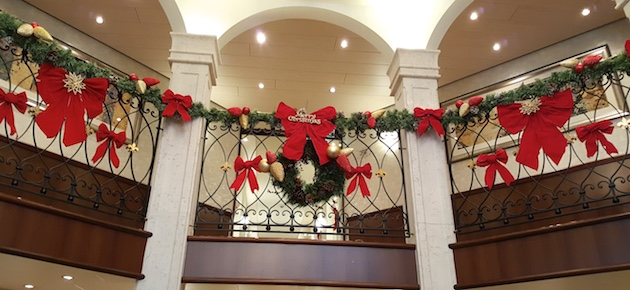 Even the handrails were wrapped with Christmas bows and decorations.