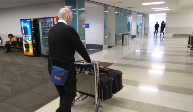 Murray takes our luggage to the waiting van