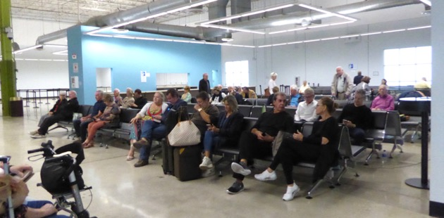 Guests gather at the Port Everglades cruise terminal #2