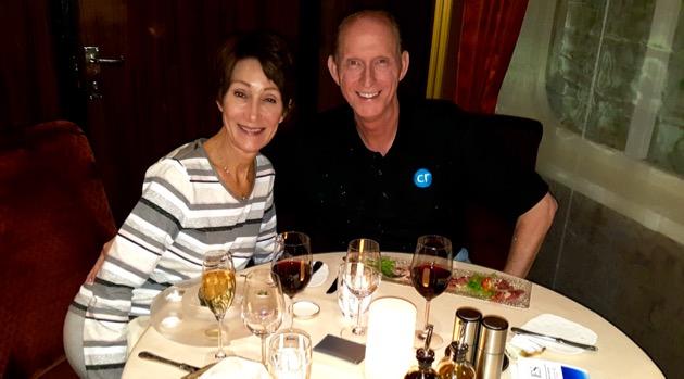 Rickee and I enjoying dinner at Atlantide