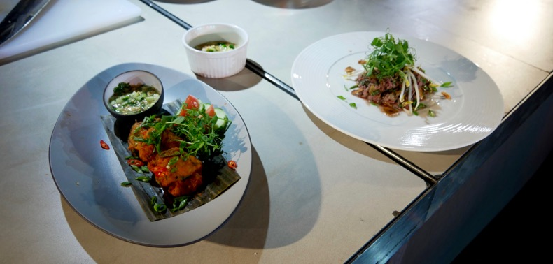 Thai Fish Cakes (left) and Vietnamese Beef Tartare (right)