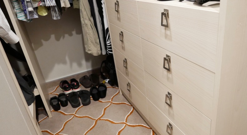 A large eight-drawer dresser offers tons of storage