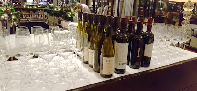 Four wines served during The Bistro meal