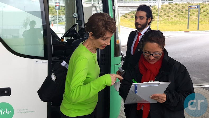 Names are checked against the guest list before boarding the coach