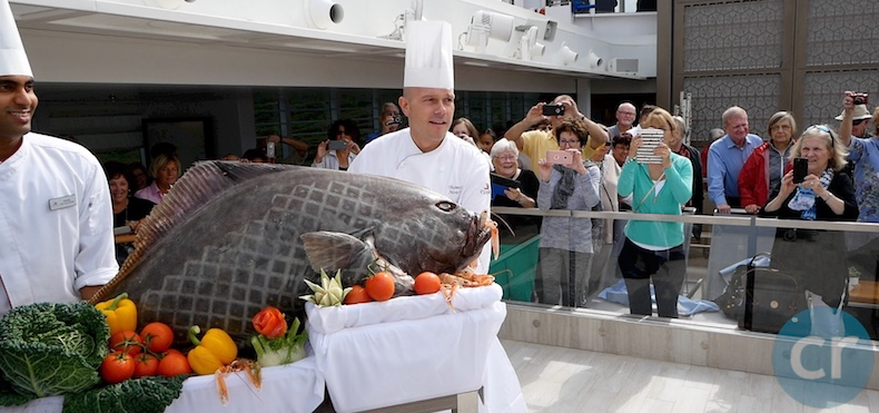 Yes, that is an actual Halibut with a shrimp in his mouth