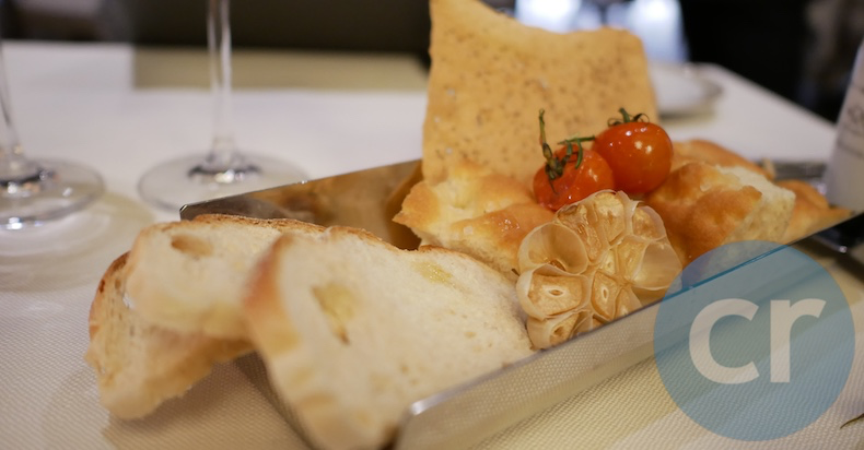 Italian breads and roasted garlic served at La Terrazza