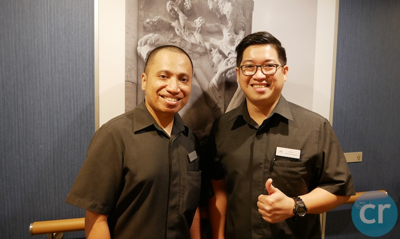 Kevin (left) and Arvin (right), our wonderful stateroom attendants