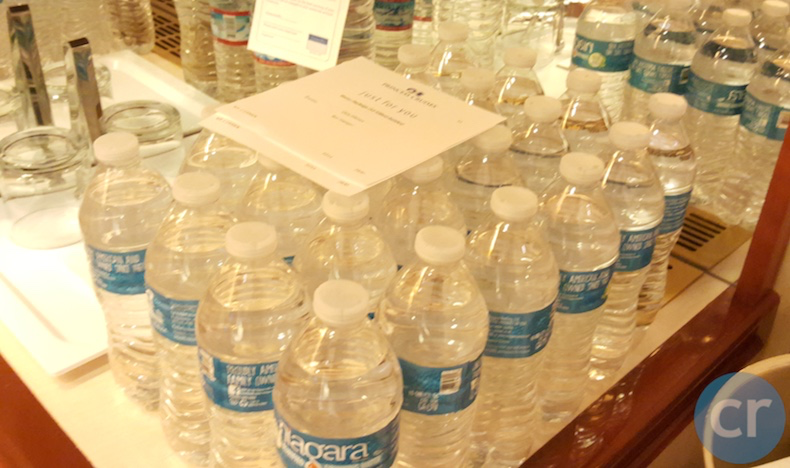 Bottled water ordered from the Cruise Personalizer website in advance