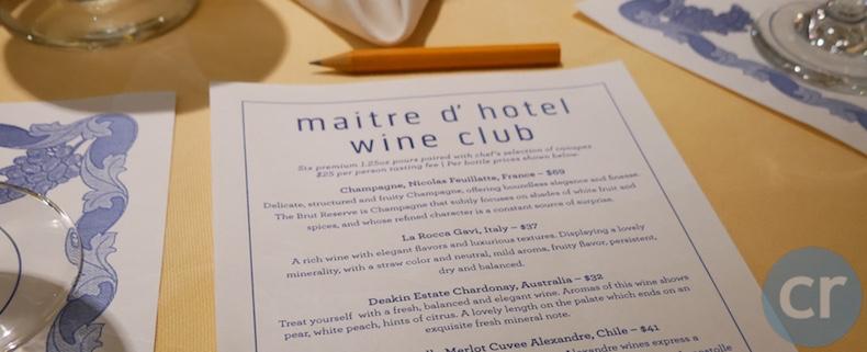 Maitre d' hotel wine club on Island Princess   CruiseReport