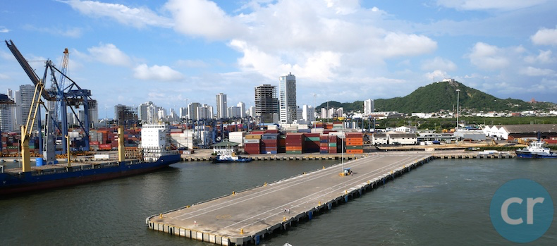 Approaching the dock in Cartagena