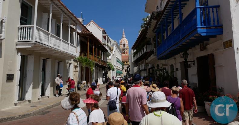 Tour group walking through streets
