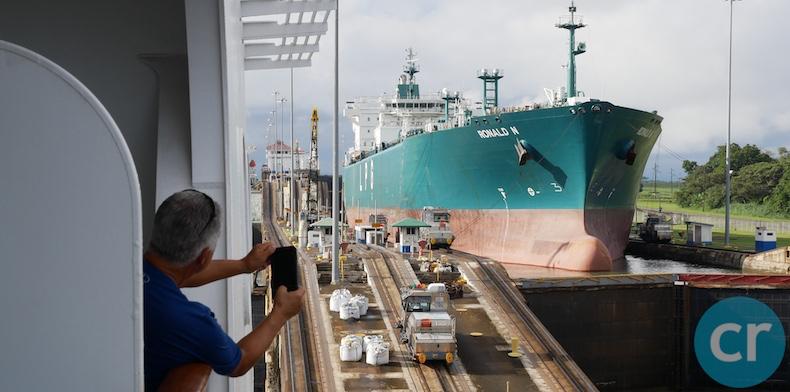 Tanker passes through locks toward the Atlantic
