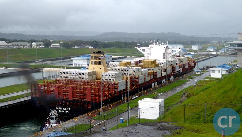 Huge freighter transiting the Aqua Clara Locks