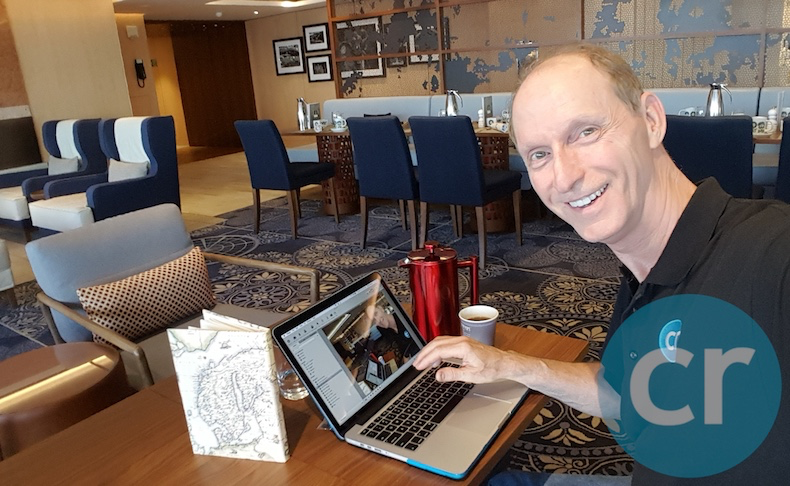 Blogging from the Explorers' Cafe on Viking Sea at 6:00am (check out my red French press)