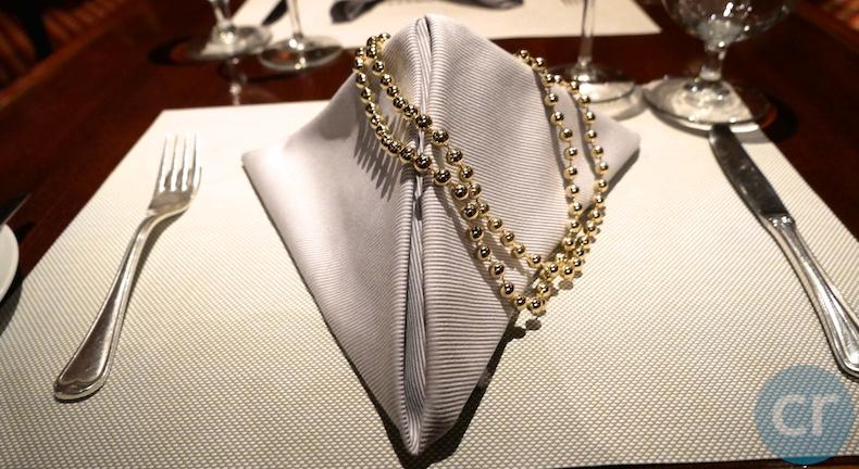 Mardis Gras beads at Bayou Cafe on Island Princess  | CruiseReport