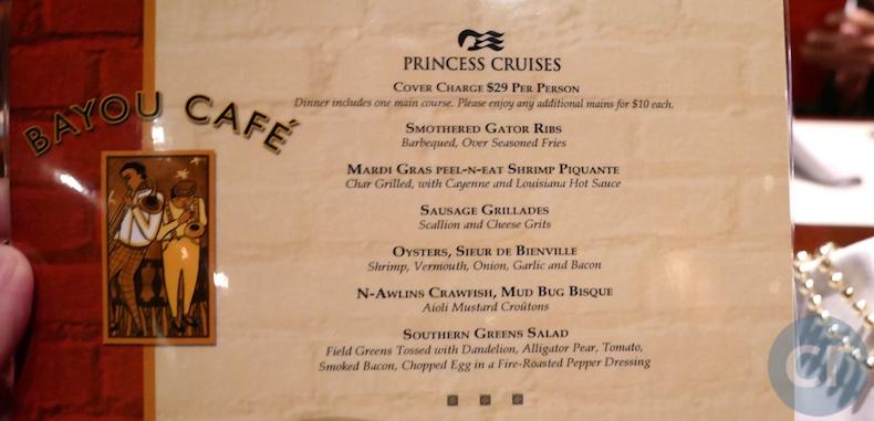 Menu at Bayou Cafe on Island Princess  | CruiseReport