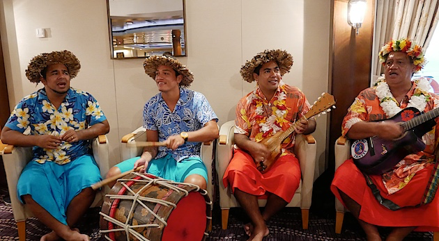 Local performers come aboard in Moorea to perform