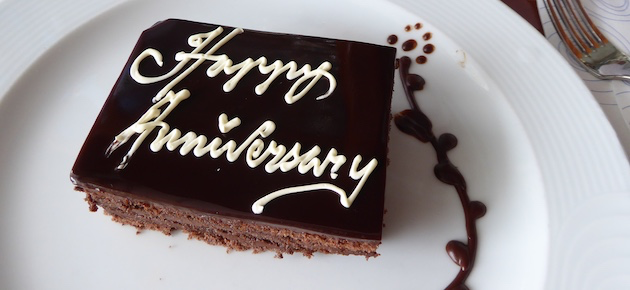 A special anniversary cake delivered to your stateroom