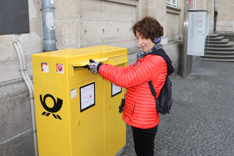 POST boxes are usually yellow or red