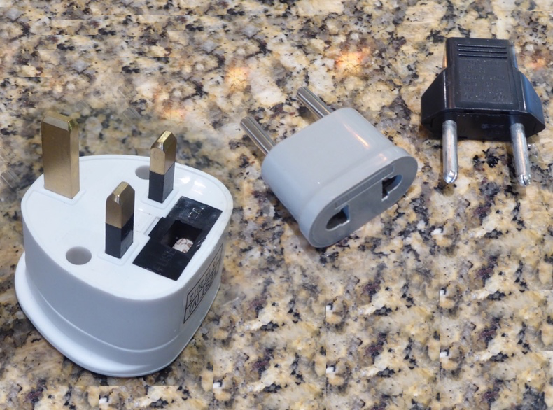 US-style to British (left) or Euro-style (right) plug adapters are cheap and readily available