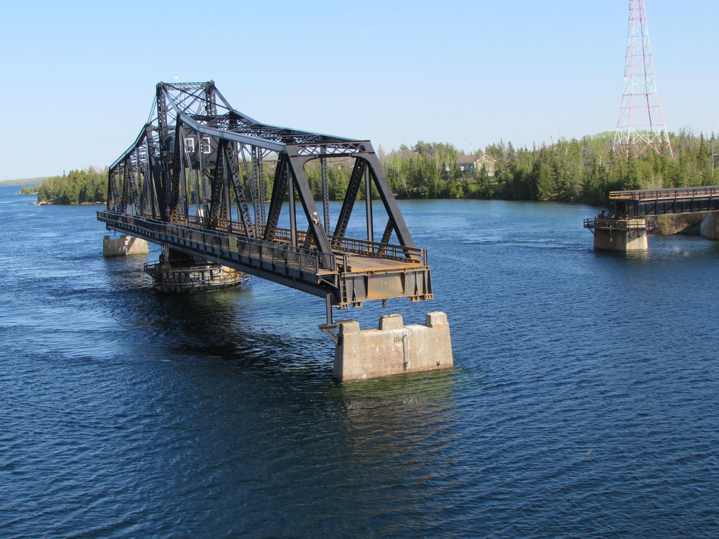 The 1913 Little Current Swing Bridge.