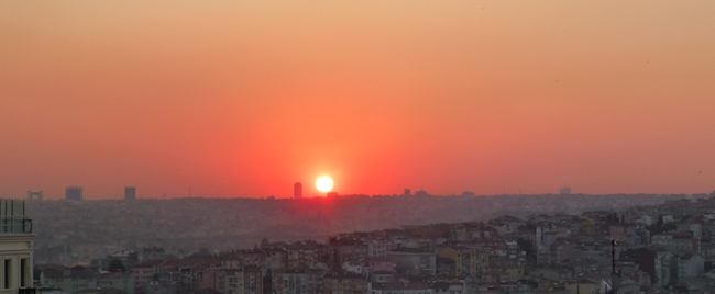 The sunset over Istanbul from our Deluxe Golden Horn View room