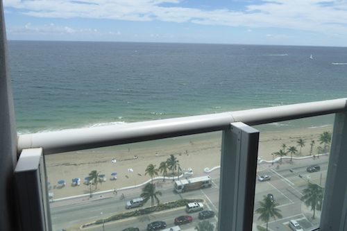 A view of the beach and the Atlantic Ocean from our balcony