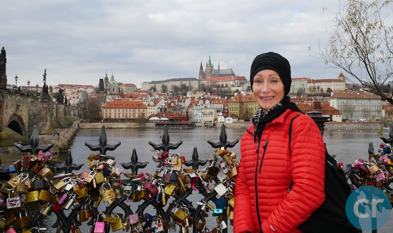 Charles bridge on left and Prague Castle in the background