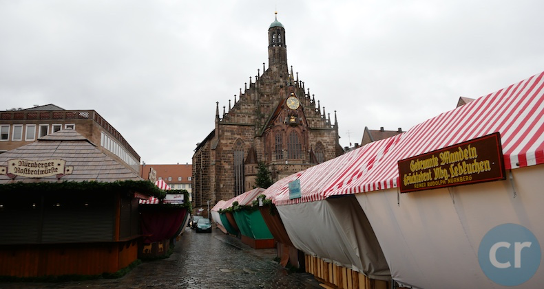 Vendors are setting up their stalls for Christmas market in Nuremberg