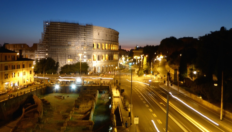 Colosseum at night, view from room 42