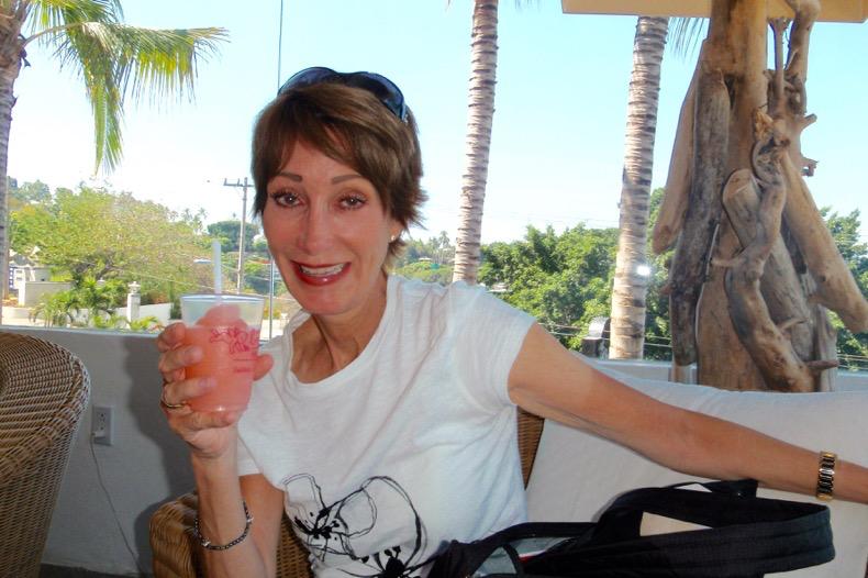 Enjoying a signature pink Margarita