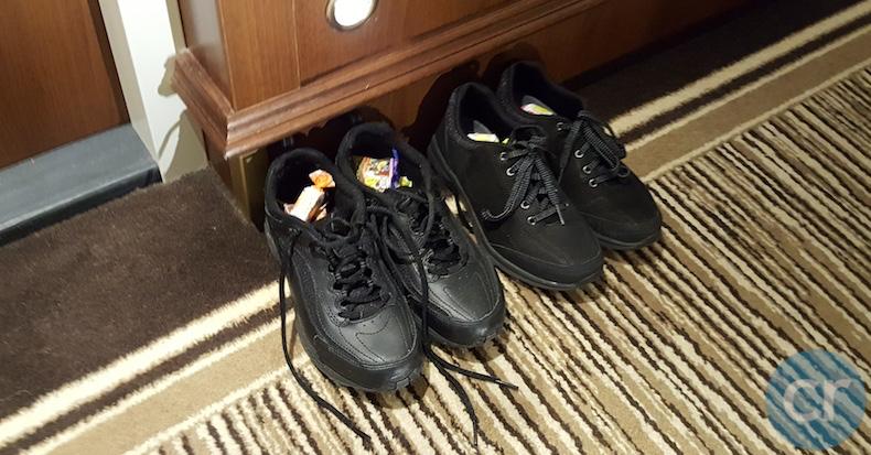 Saint Nicholas left treats in guests' shoes