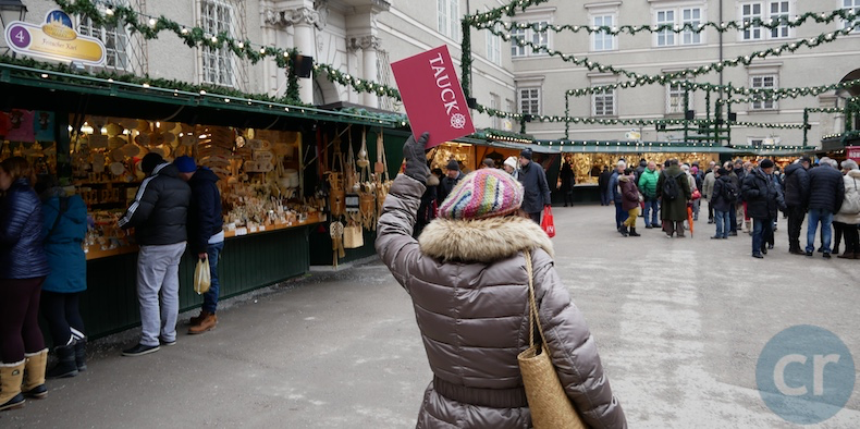 Tour guide leads us through Christmas Markets