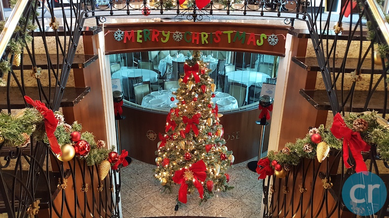 A Christmas tree greets you as you enter Compass Rose dining room