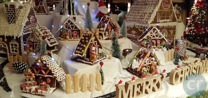 The gingerbread house display in Panorama Lounge
