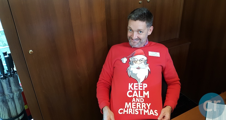 Cruise Director, Steve Marchant, has a different fun Christmas sweater every day