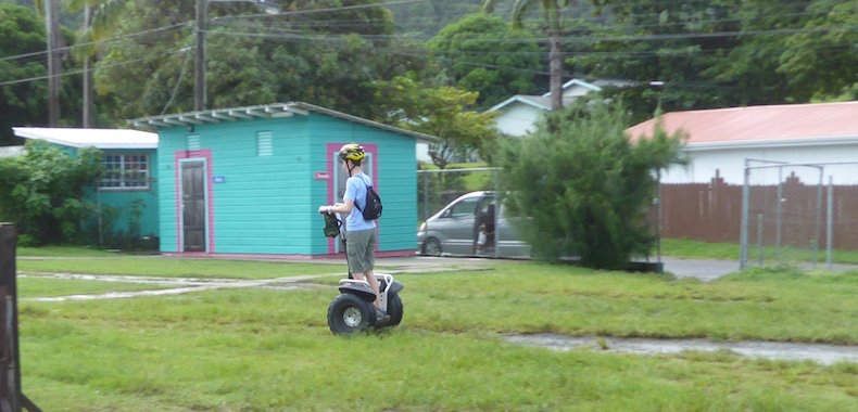 Rickee practices her Segway skill on the LucianStyle test track