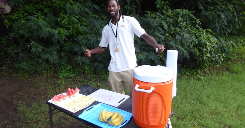 Shanga offers fresh, local fruit and water refreshments