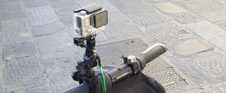 GoPro mounted to Segway handlebar