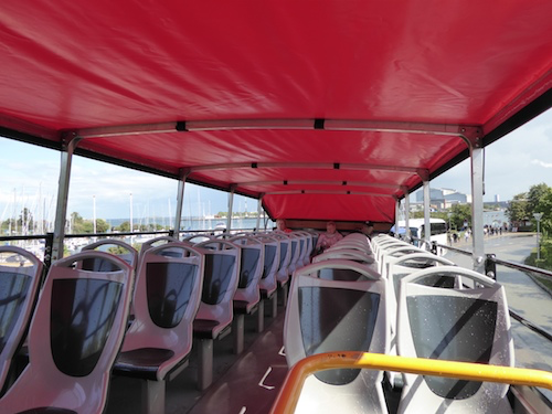The upper deck of the HoHo bus