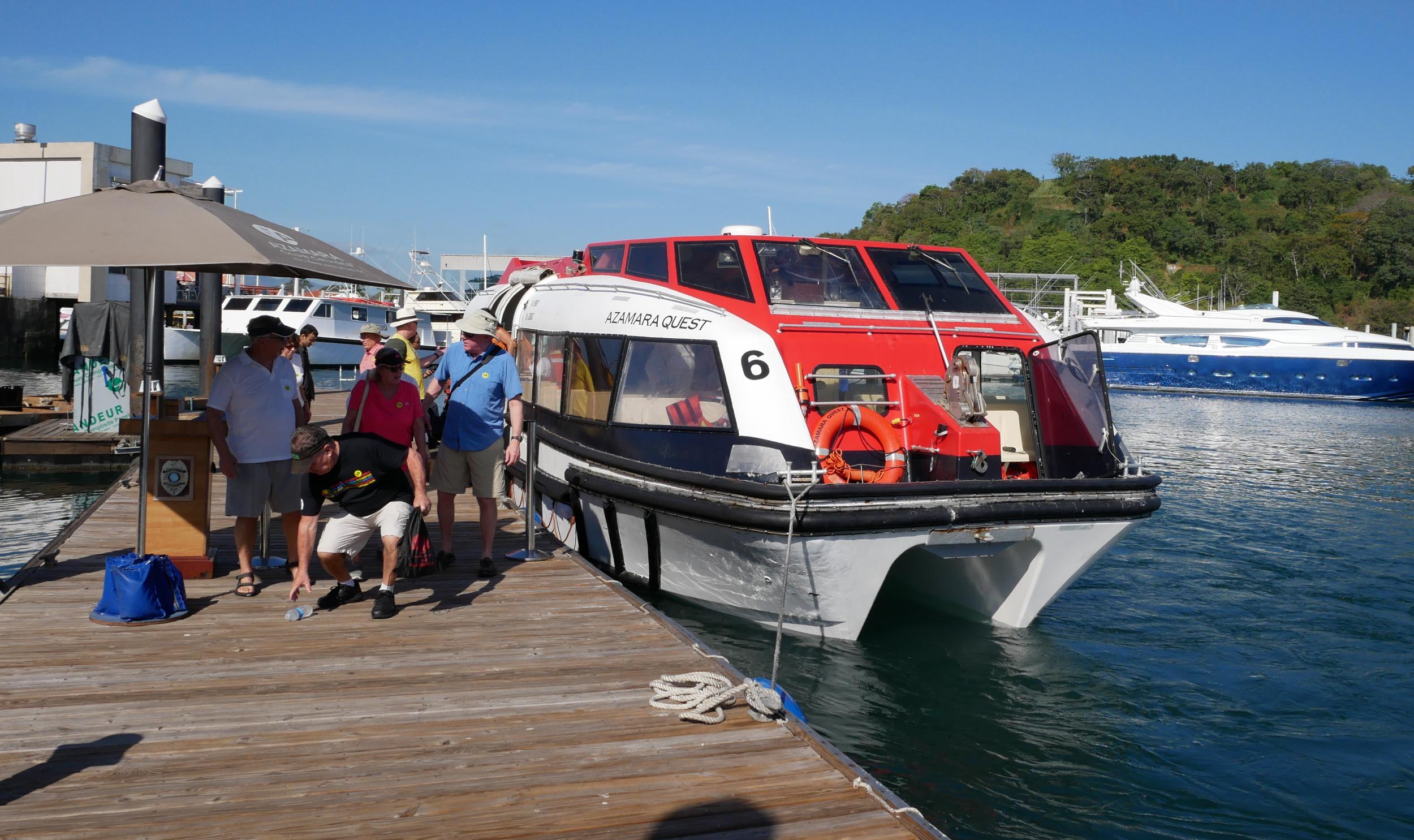 Tender drops guests off at Flamenco Marina